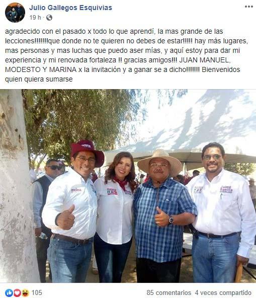Publicación de Julio Gallegos en Facebook.