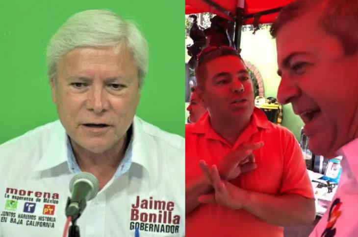 Jaime Bonilla y a un lado un elector con Oscar Vega.