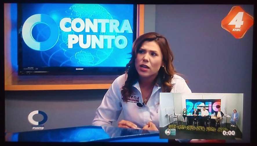 Marina del Pilar en Televisa mientras el debate fue en el Canal 66.