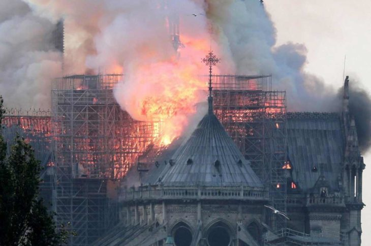 Catedral de Notre Dame en llamas.