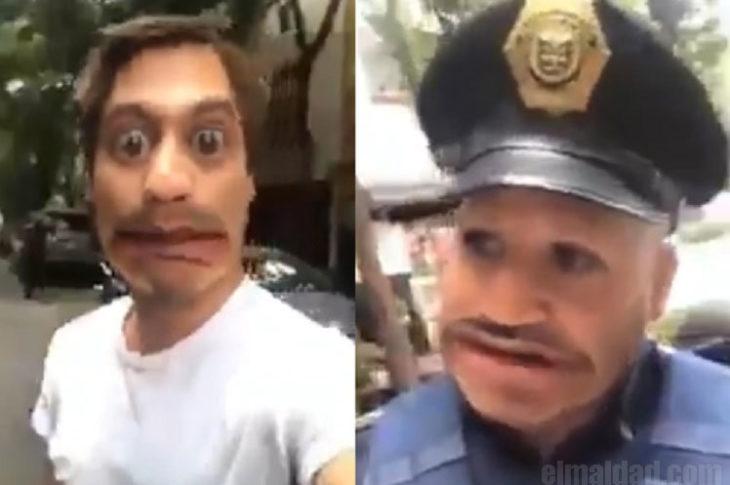 Joven pone filtro de Snapchat a policías.