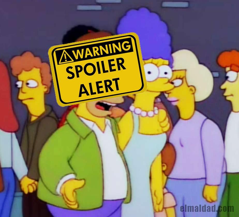 Homero Simpson haciendo un spoiler.