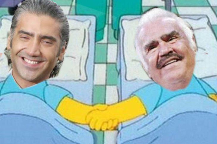 Meme de Vicente Fernández compartido en Twitter por @SimpsonitoMX.