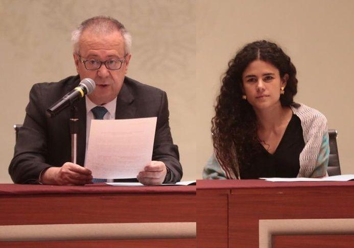 Carlos Urzúa, secretario de hacienda y Luisa María Alcalde, secretaria del trabajo y previsión social.