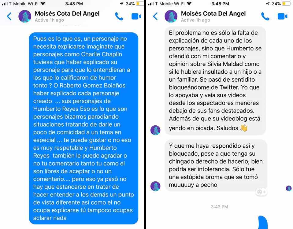 Mensajes entre Moisés y Gonzalo Ayala.