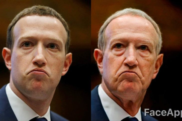 Mark Zuckerberg, creador de Facebook con el filtro de viejo ofrecido por FaceApp.