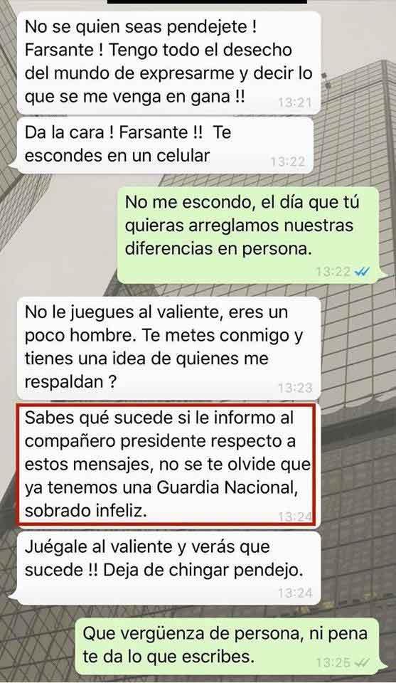 Los mensajes de WhatsApp que mandó Fernández Noroña a Rafael Arias.