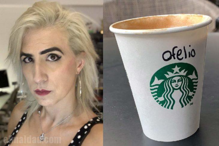 """Ophelia con su café """"Ofelio""""."""