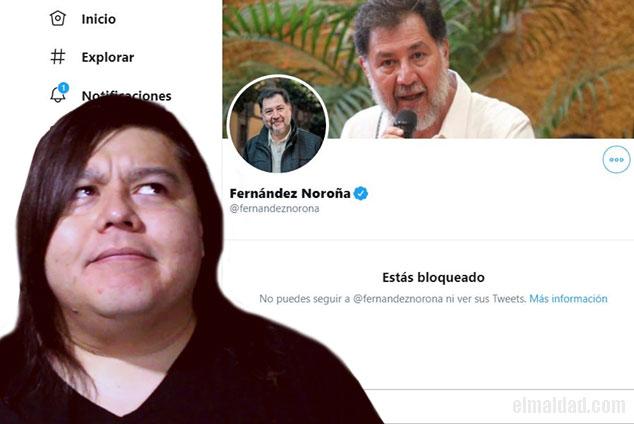 El Maldad bloqueado por el diputado federal Fernández Noroña en Twitter.