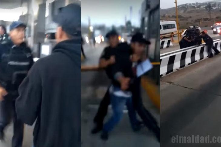 La policía federal reprimiendo a manifestante en Tijuana.