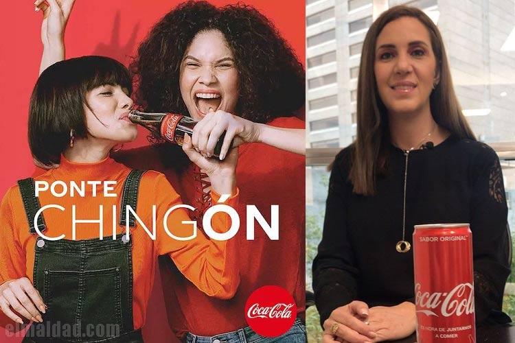 La publicidad de Coca Cola y a un lado Trixia Valle alias #LadyCocaCola.