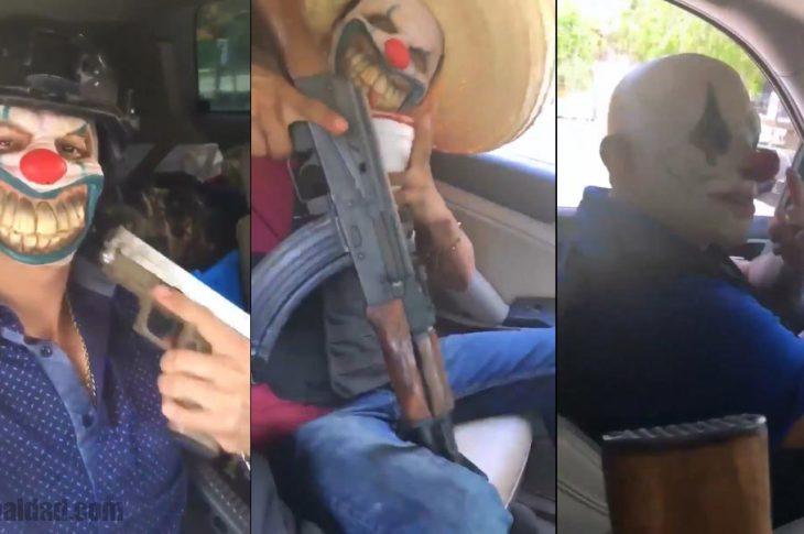 Hombres armados con máscara de payasos terroríficos recorren las calles en Tamaulipas.