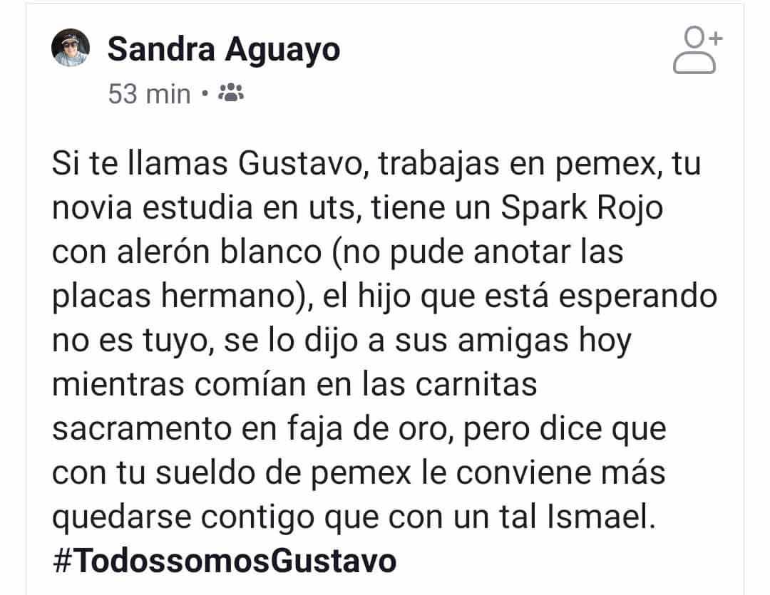 Estado en Facebook de Sandra Aguayo.