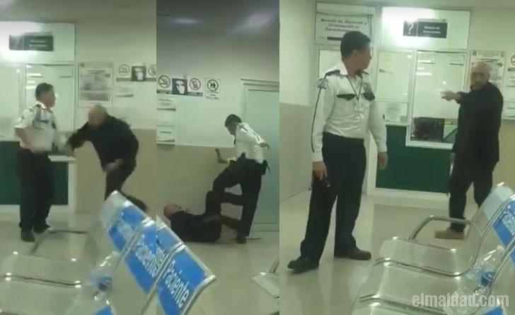 Capturas de pantalla del vídeo de la pelea de los guardias de seguridad de la clínica 30 del IMSS en Mexicali.