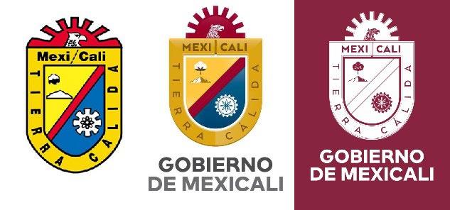 Logo anterior de Mexicali y logos de la administración morenista actual.