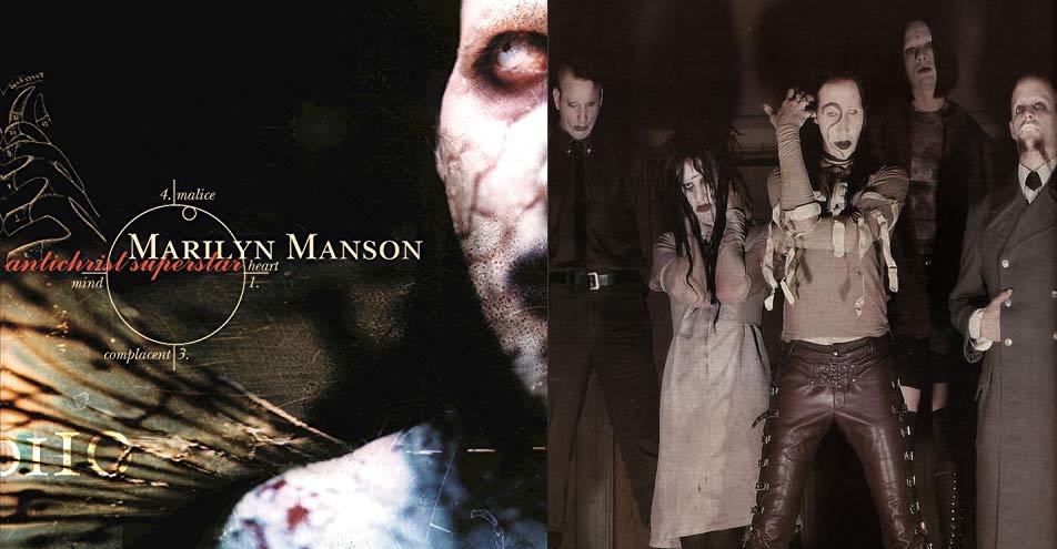 La portada Antichrist Superstar y a un lado la alineación de la banda en 1996.