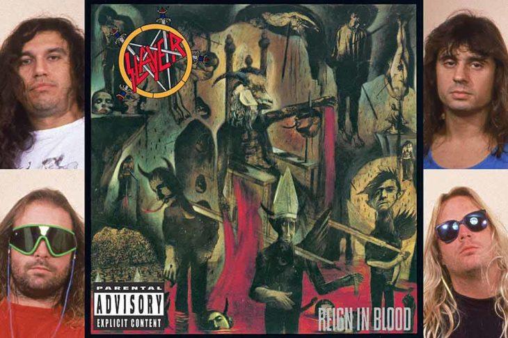 Portada de Reign In Blood con los miembros de Slayer a los costados.