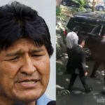 Evo Morales fue captado saliendo de un restaurante fifí con una escolta de 3 hombres.
