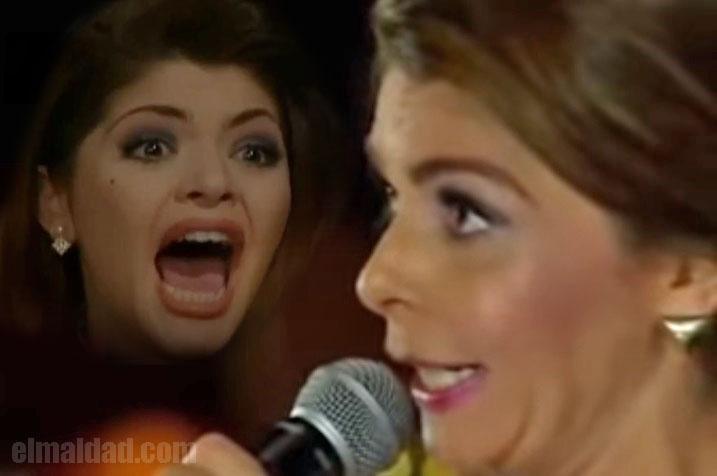 Itatí Cantoral cantando a la virgen de Guadalupe.