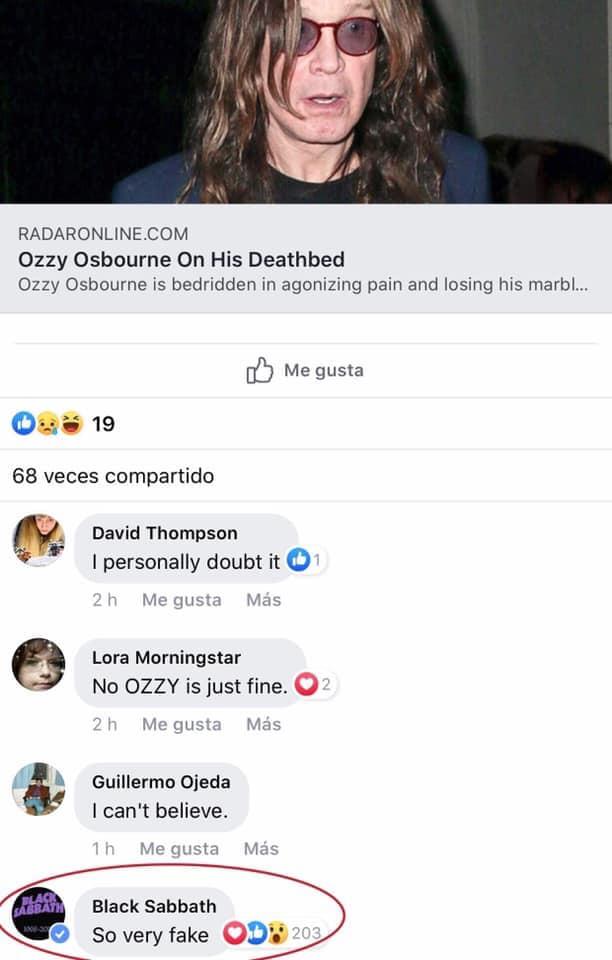 Presunto comentario realizado por Black Sabbath en Facebook.