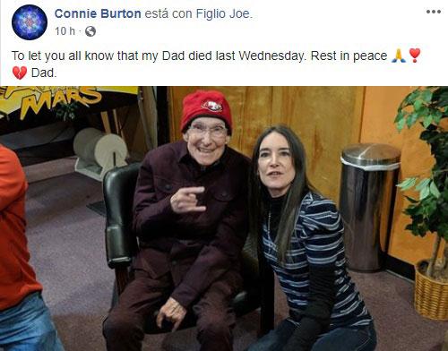 Connie Burton dando la lamentable noticia en Facebook.
