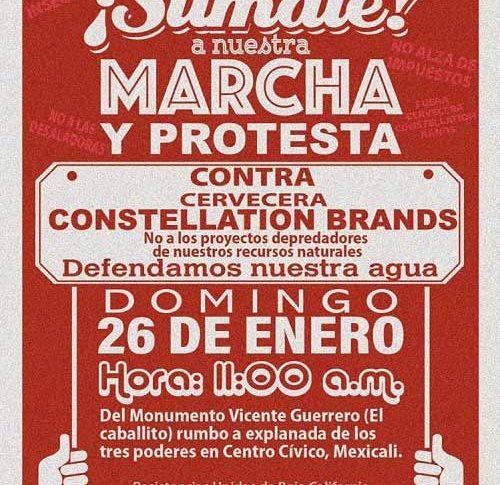 Volante que circula en Facebook convocan a la marcha contra Constellation Brands.
