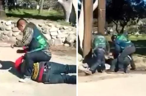 Algunos miembros de los Vagos golpeando a un par de Renegados.