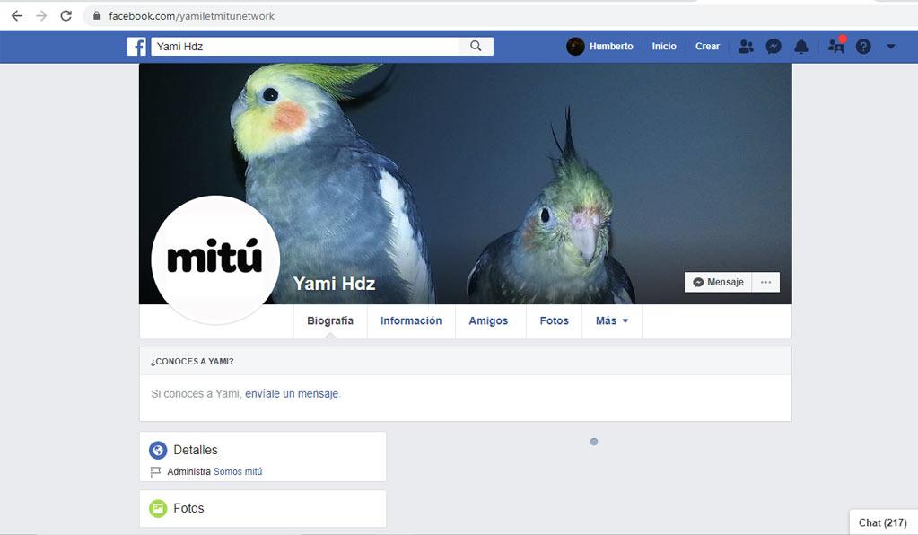 El perfil del administrador de la página de MiTú en Facebook.