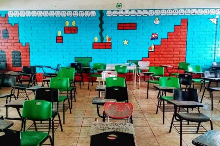 El mural de Mario Bros en su esplendor antes de ser borrado.