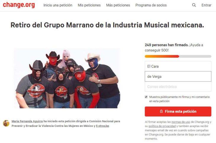 Petición en contra del Grupo Marrano.