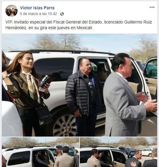 Publicación de Víctor Islas en su muro de Facebook.