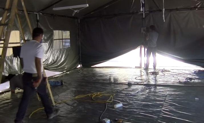 Hospital improvisado puesto por el ejército mexicano junto con las autoridades de medicina.