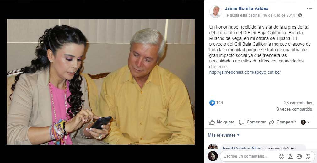 Bonilla presumiendo haberse sumado al proyecto de Brenda Ruacho.