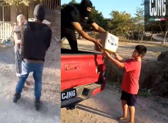 Hombres del Cártel de Jalisco Nueva Generación entregando despensas.