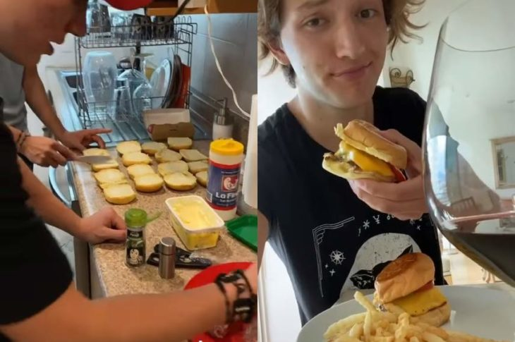 Millennial descubre hacer hamburguesas.