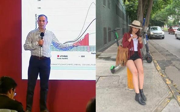 López-Gatell y la reportera Dulce Soto.