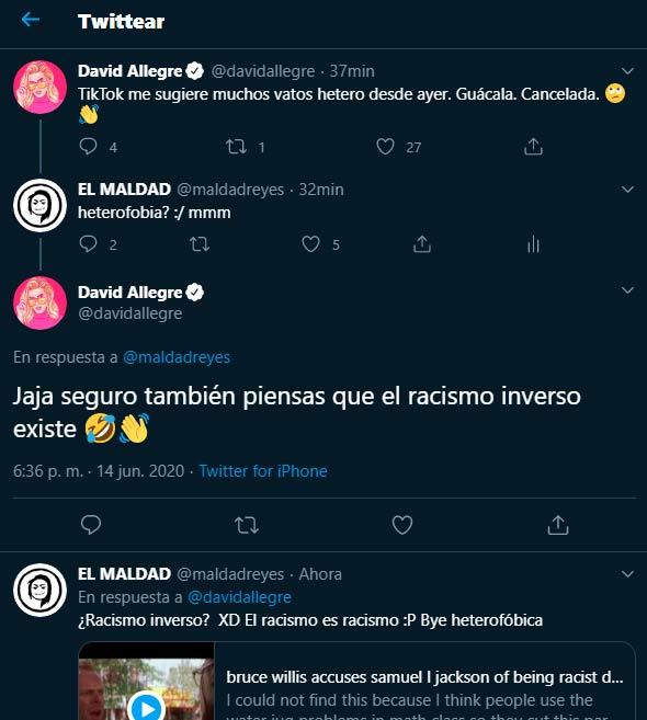 Tweets de David Allegre y respuestas de El Maldad.
