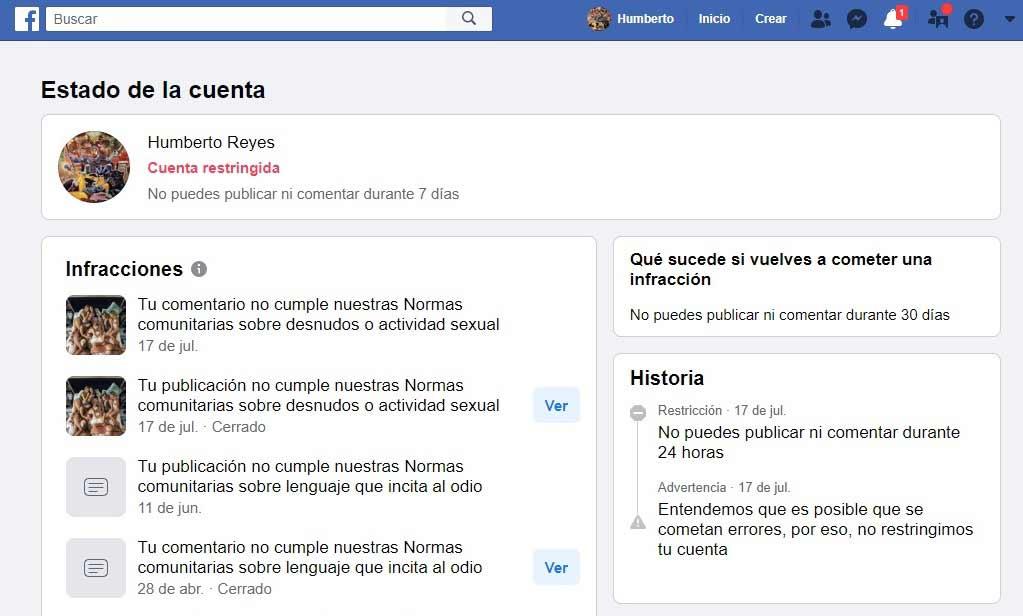 Facebook me bloqueó por 7 días.