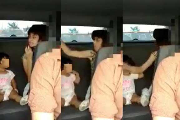 Mujer agresiva golpea a su marido y a su hija.