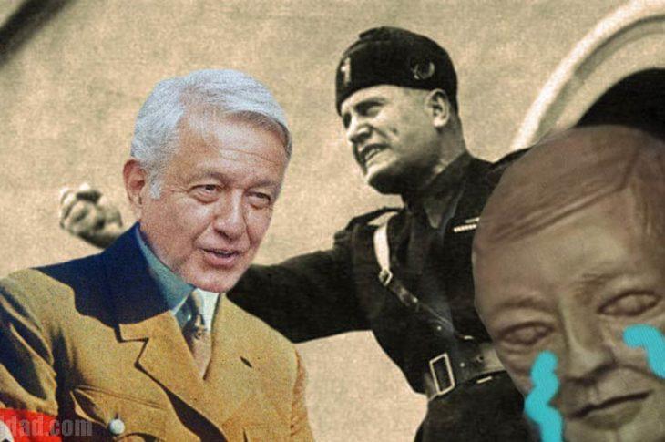 AMLO, Mussolini y el busto de Juárez.
