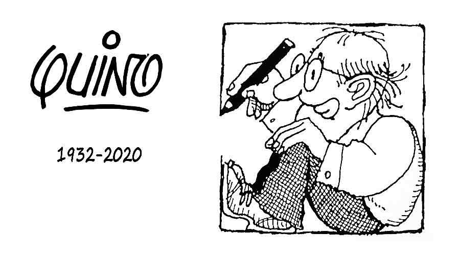 En memoria de Quino y su auto-retrato en caricatura.