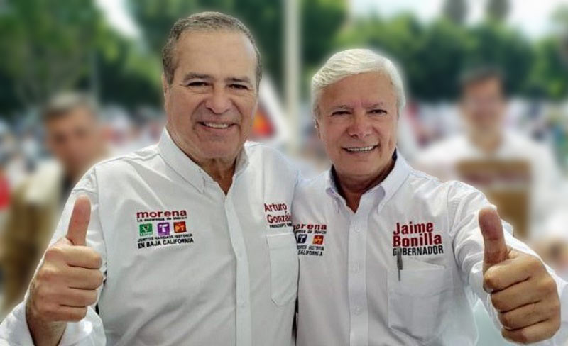 En campaña, González Cruz y Jaime Bonilla.