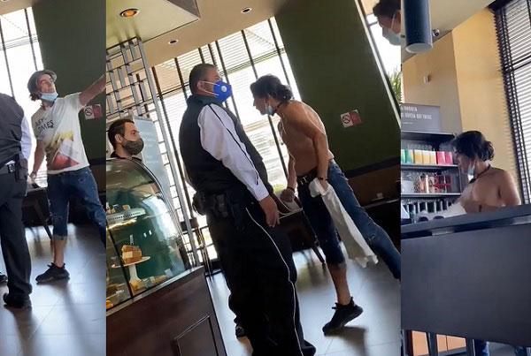Lord Pantera discutiendo con el empleado de Starbucks que le pidió ponerse cubrebocas.