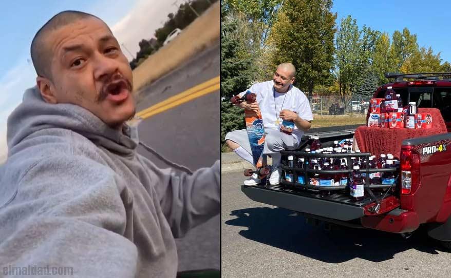 Nathan Apodaca en el vídeo que se hizo viral y a un lado de nueva pickup y jugo.