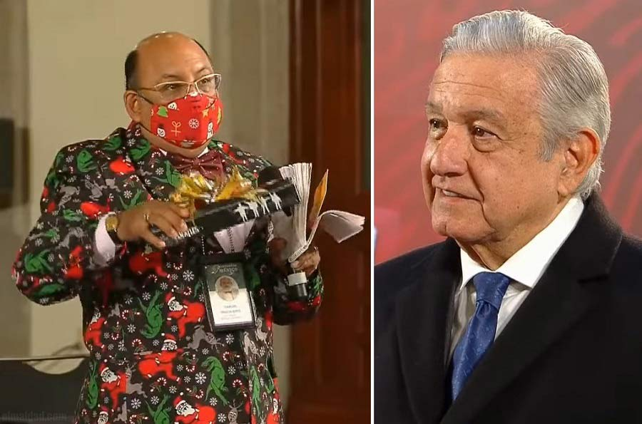 Lord Molécula le llevó un regalito al presidente.