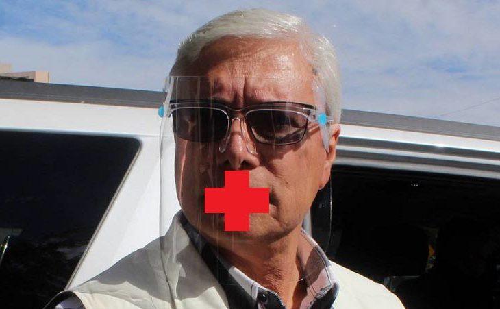 Jaime Bonilla con la cruz roja en la boca.
