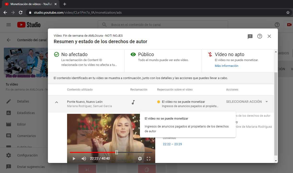 Captura de pantalla de los detalles del reclamo de Mariana Rodríguez en el Noti Nojes.