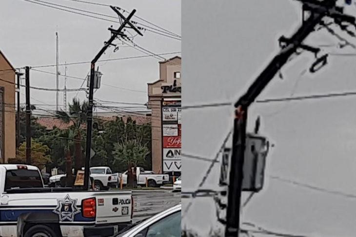 Poste en llamas en la avenida Justo Sierra en Mexicali.