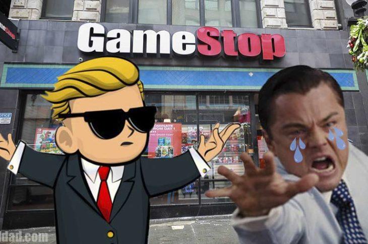 """El logo de los WallStreetBets y el """"lobo"""" de Wall Street llorando por el asunto de GameStop."""