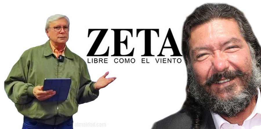 Bonilla, el logo del semanario Zeta y Hank Rhon.